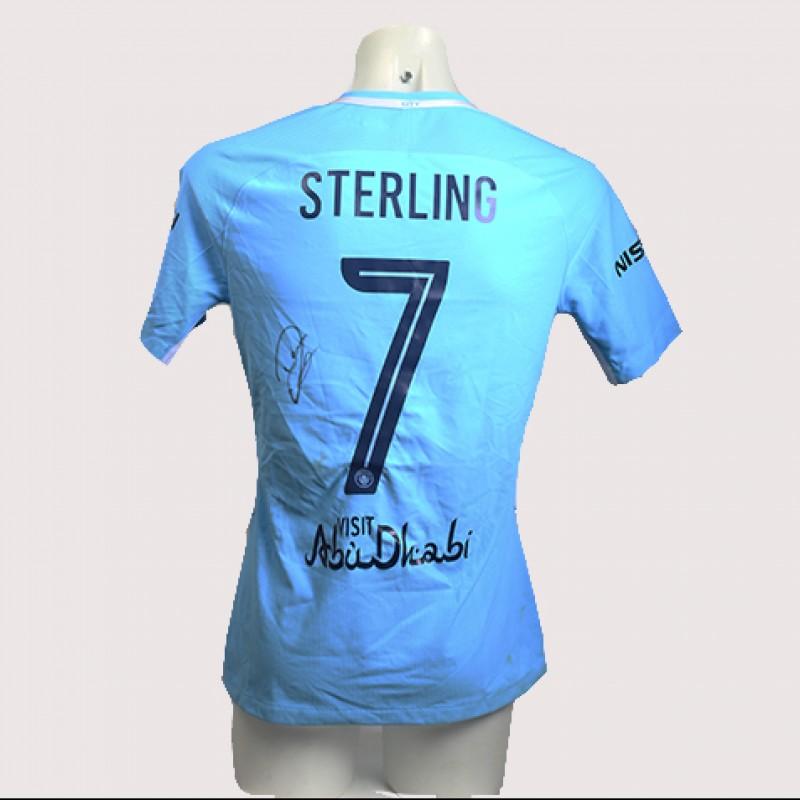 Raheem Sterling Match-Worn Signed Manchester Derby Shirt