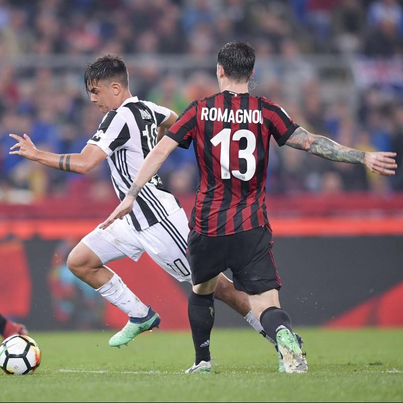 Romagnoli's Match-Issued/Unwashed Juventus-Milan Shirt, 2018 TIM Cup Final