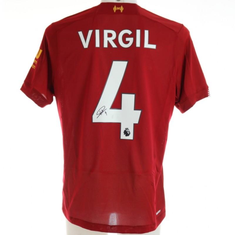 Van Dijk's Official Liverpool Signed Shirt, 2019/20