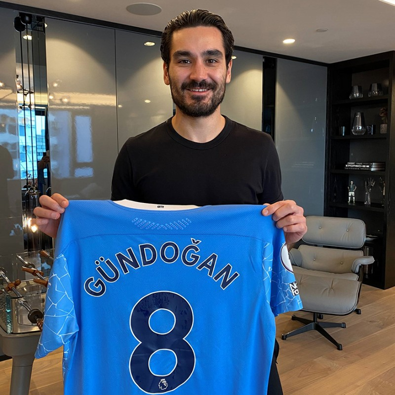Original Ilkay Gündogan Match Worn and Signed Jersey vs. West Bromwich Albion