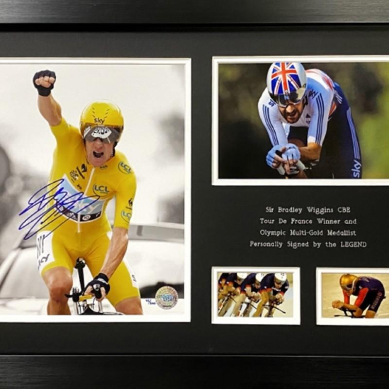 Sir Bradley Wiggins Signed and Framed Photo Display