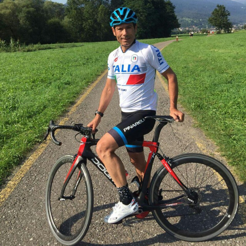 Official Italy Cycling Jersey Signed by Davide Cassani