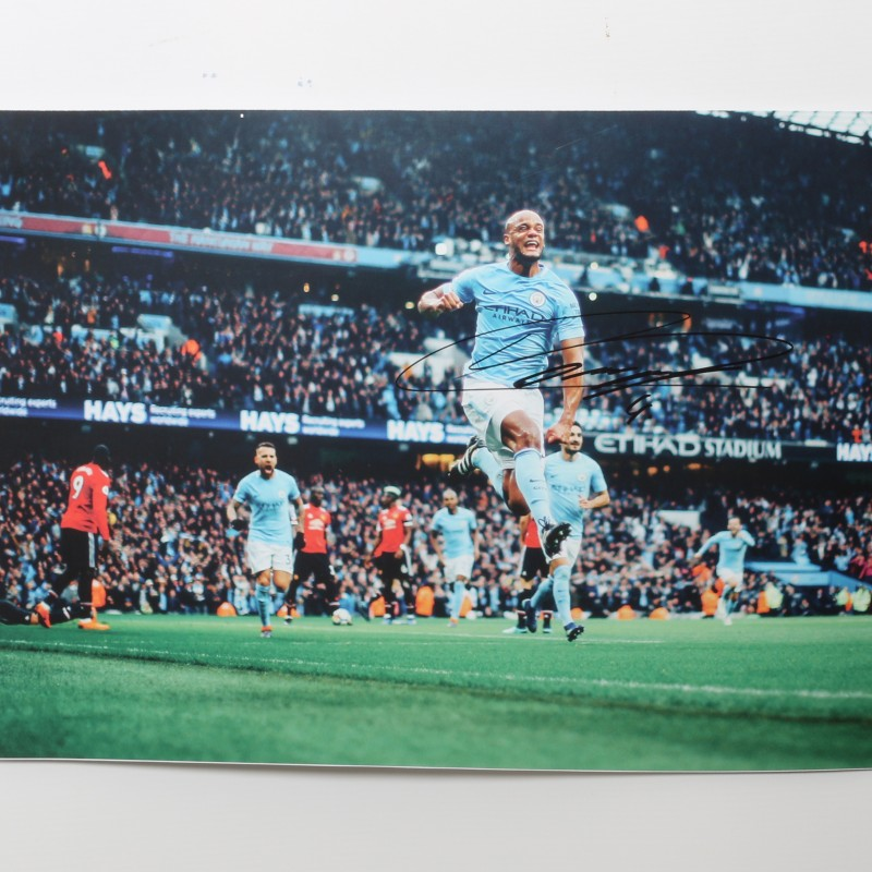 Signed Photograph of Vincent Kompany, Manchester City vs Manchester United