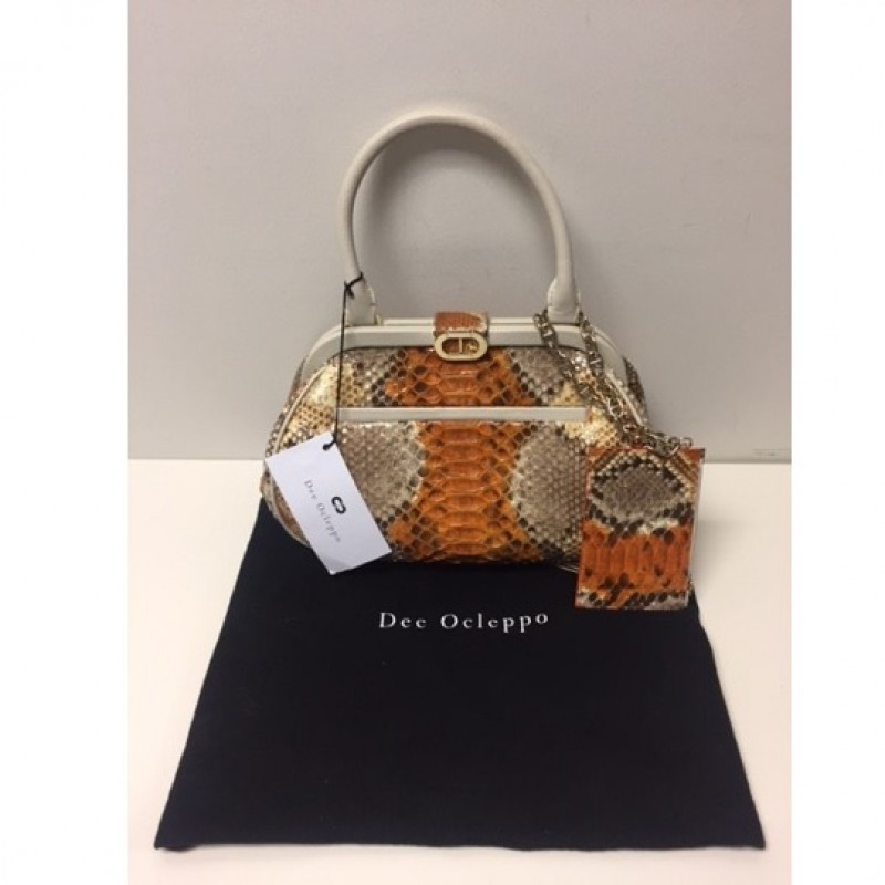 Dee Ocleppo Orange and Python Handbag