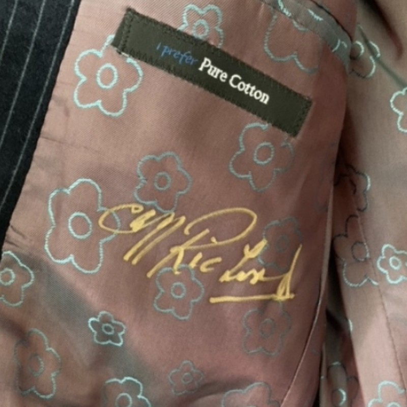 Signed Navy Velvet Striped Jacket- Worn by Sir Cliff Richard
