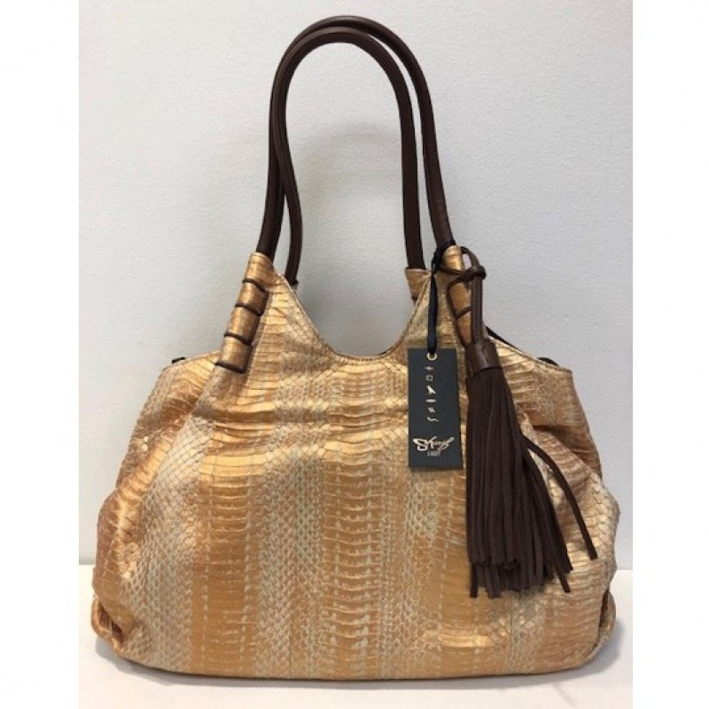 Sharif Couture Snake Skin and Leather Ruched Shopper Bag