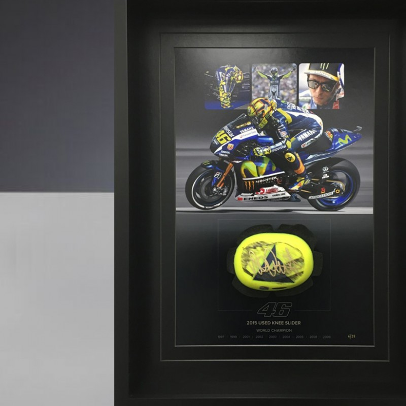 Knee sliders signed and worn by Valentino Rossi during 2015