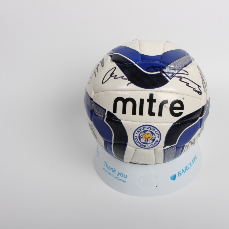 Leicester City Football Signed by Team Including Vardy, Mahrez and Schmeichel