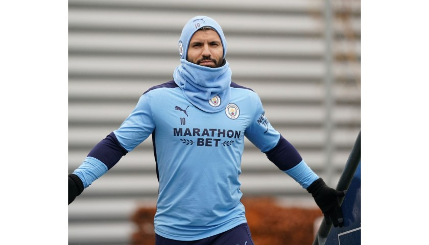 Aguero's Worn Manchester City Signed Training Top