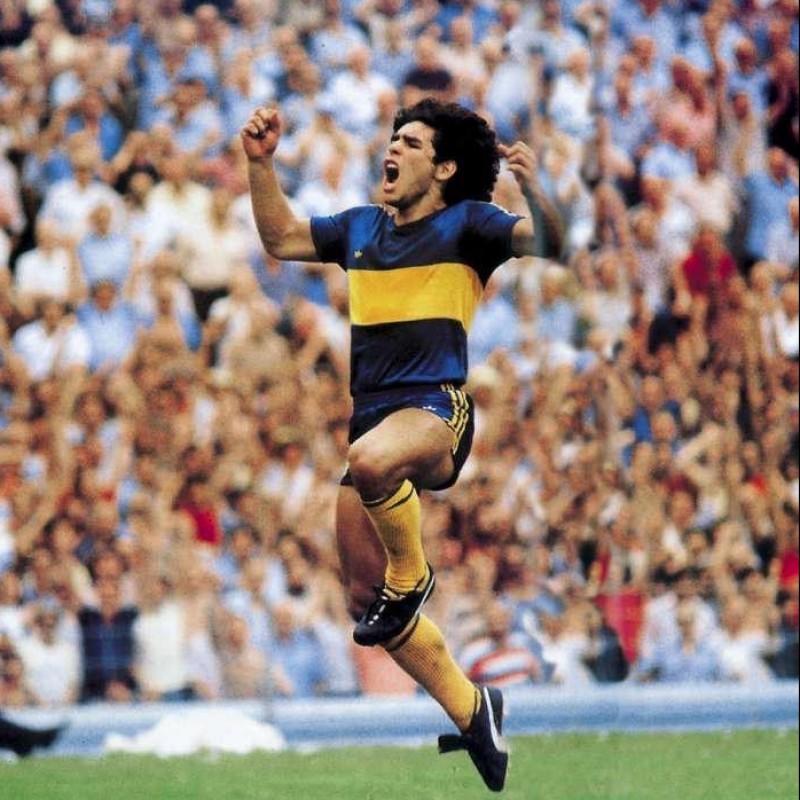 Boca Juniors Retro Shirt - Signed by Maradona