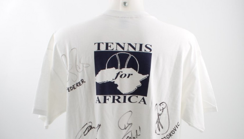 T-shirt Tennis for Africa signed by Murray, Federer, Nadal and Djokovic