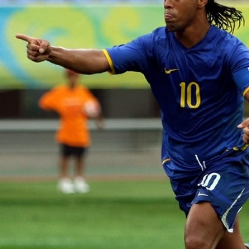 Ronaldinho Brazil match issued/worn shirt, Olympic Games 2008