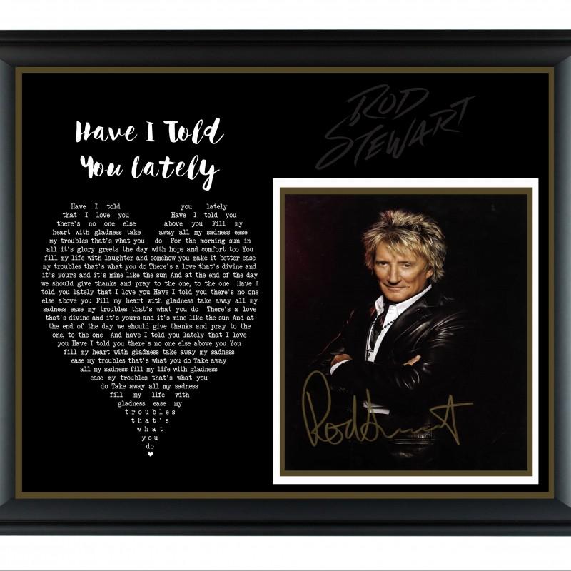 Rod Stewart Hand Signed, Custom Framed Display