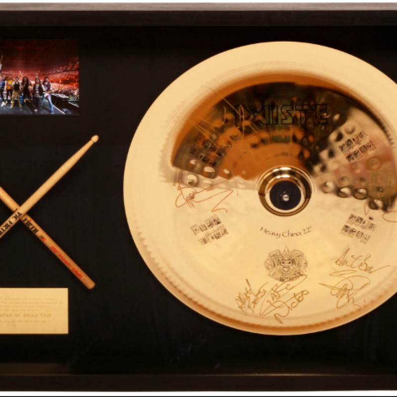 Collector Cymbal and Drumsticks from Iron Maiden