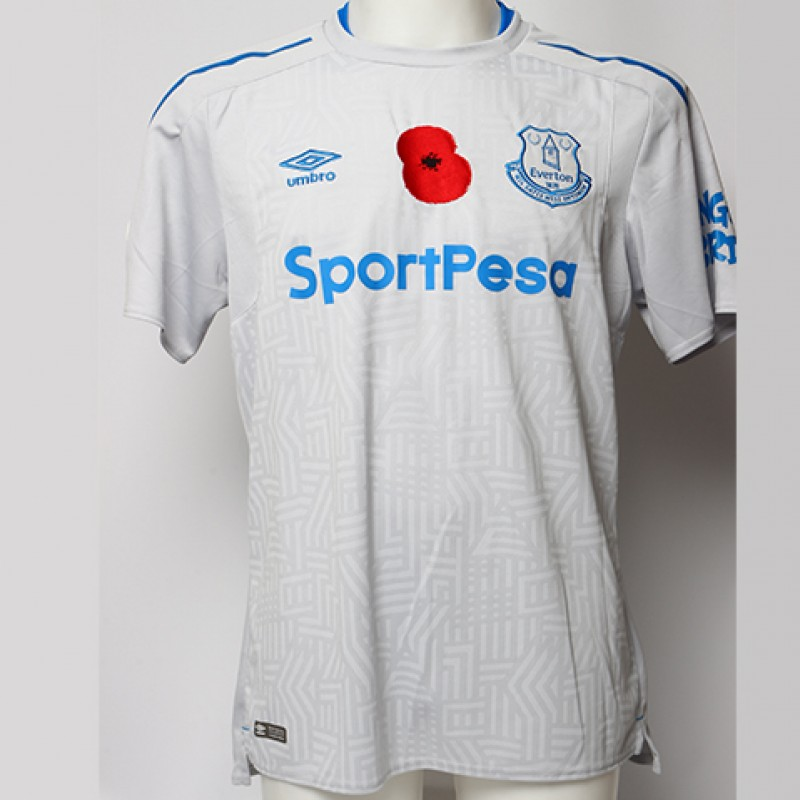 Worn Poppy Away Game Shirt Signed by Everton FC's Wayne Rooney