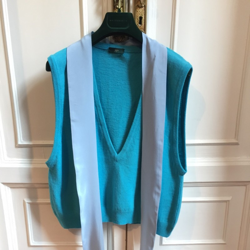 Jejia Grace Gilet in Light Blue Lambswool and Silk
