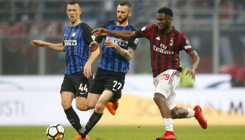 430a7b49ff24b7 Kessie's Match-Worn Milan-Inter Shirt with Special Patch - Unwashed ...