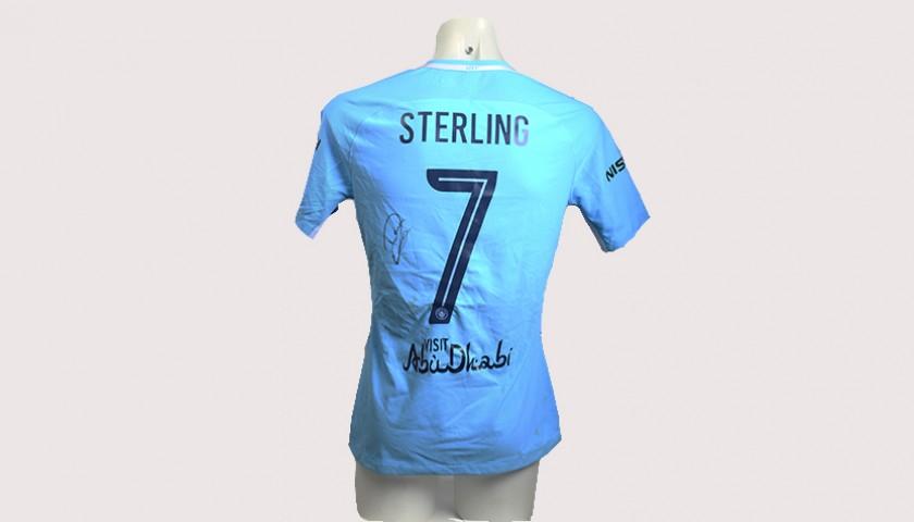 Raheem Sterling Match-Worn Signed Manchester Derby Shirt ... 5ba7a4d63c