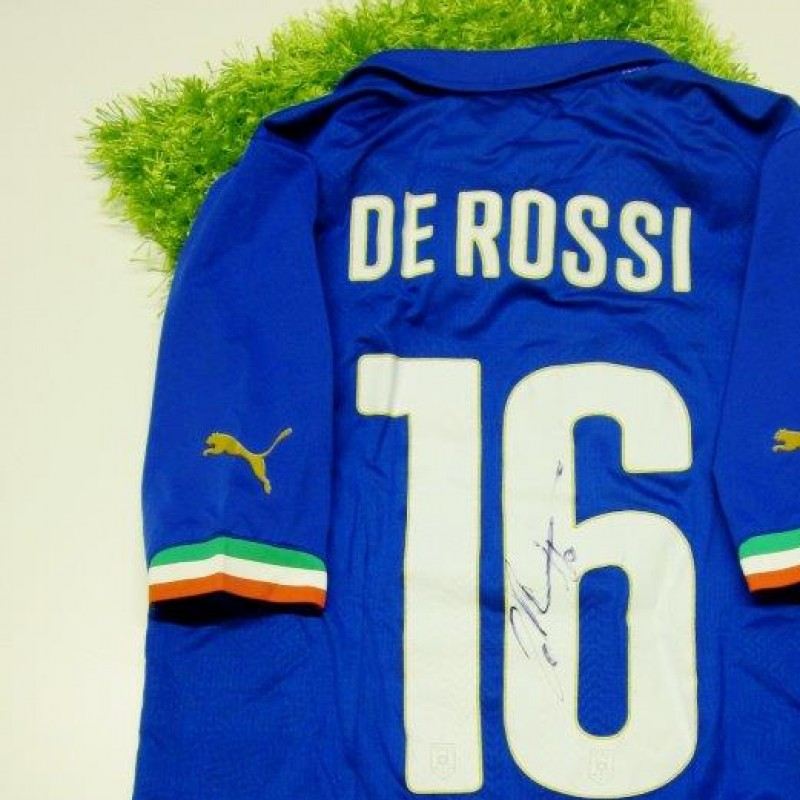 De Rossi Italy official authentic shirt signed, Brazil 2014 - #celebriamolamaglia #vivoazzurro