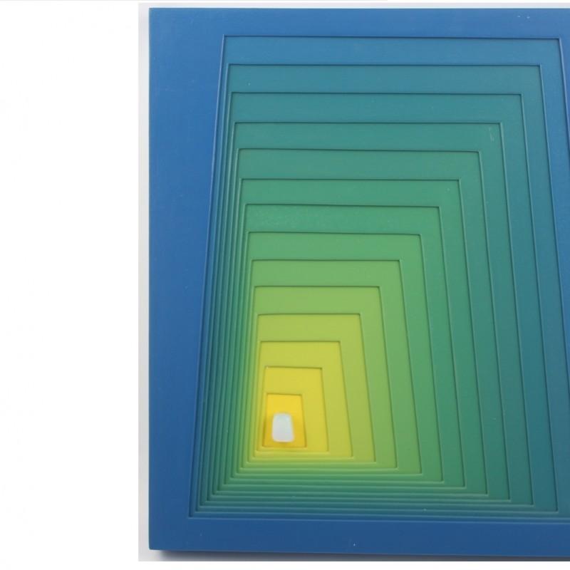 """""""Opalina"""" - enamel on wood by A. Lanzaretti - 50x44 cm"""