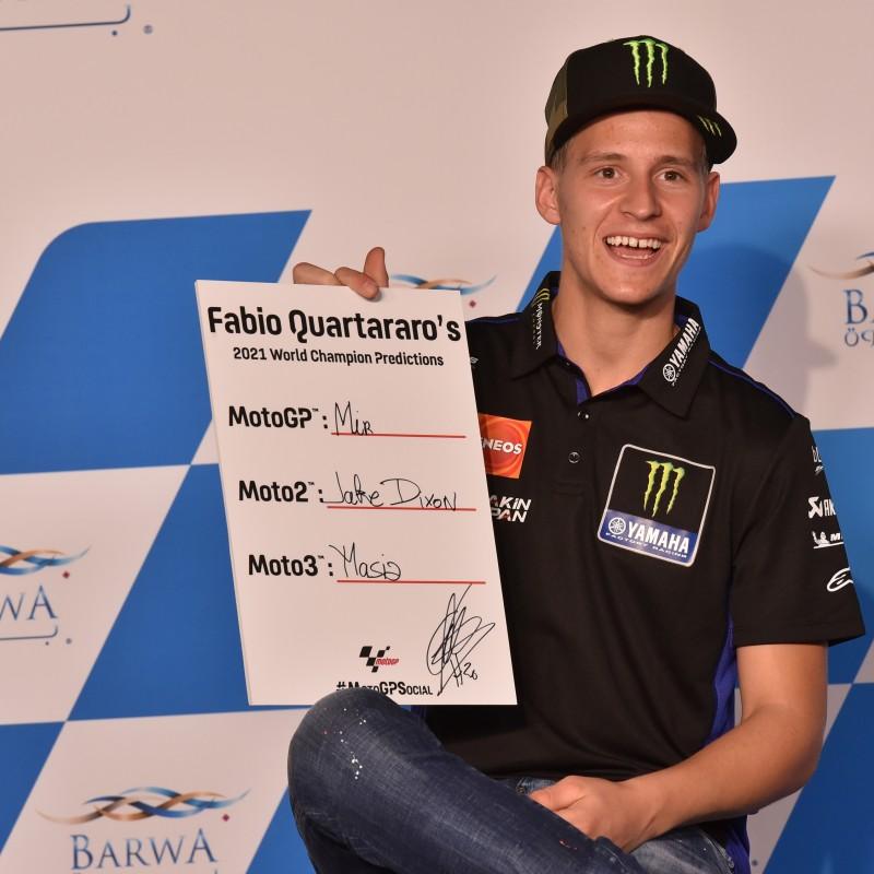 Signed '2021 Championship Winner Predictions' board signed by Fabio Quartararo