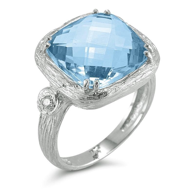 Reiss Blue Topaz & Diamond Ring in White Gold