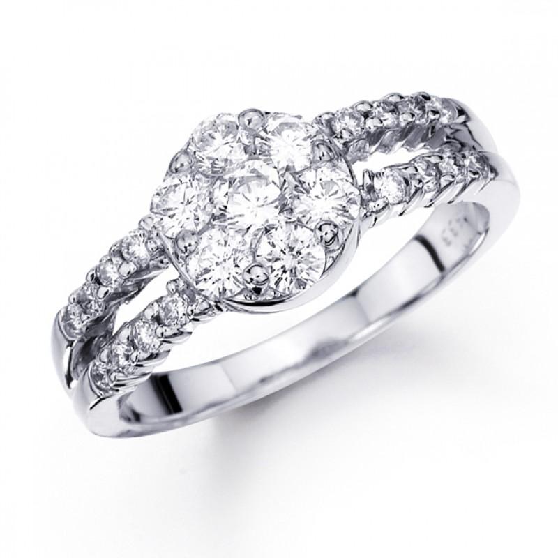 Anello in oro bianco 14 carati e diamanti con gambo diviso