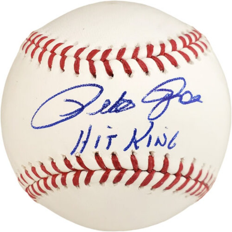 """Pete Rose Hand Signed Baseball with """"Hit King"""" Inscription"""