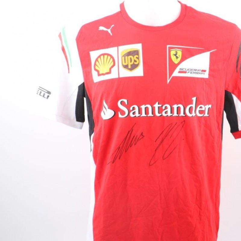 Ferrari t-shirt signed by Vettel and Raikkonen