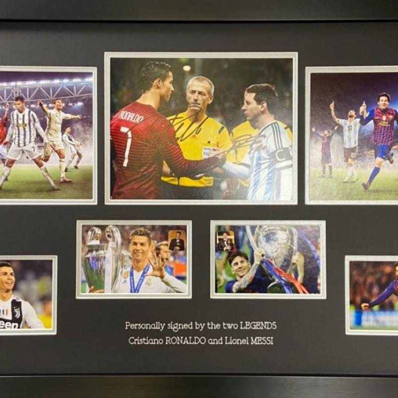 Lionel Messi And Cristiano Ronaldo Signed Photo Display
