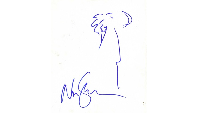 Neil Gaiman Hand Signed Drawing on Canvas