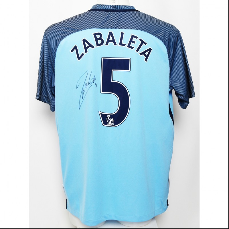 Manchester City FC 2016|17 Home Shirt Signed by Pablo Zabaleta
