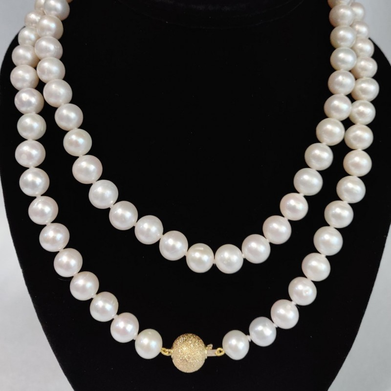 Freshwater Pearl Necklace with 14KT Gold Diamond Cut Ball Clasp