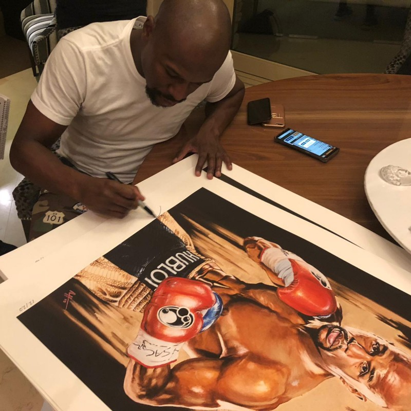 Signed Art Print of Floyd Mayweather