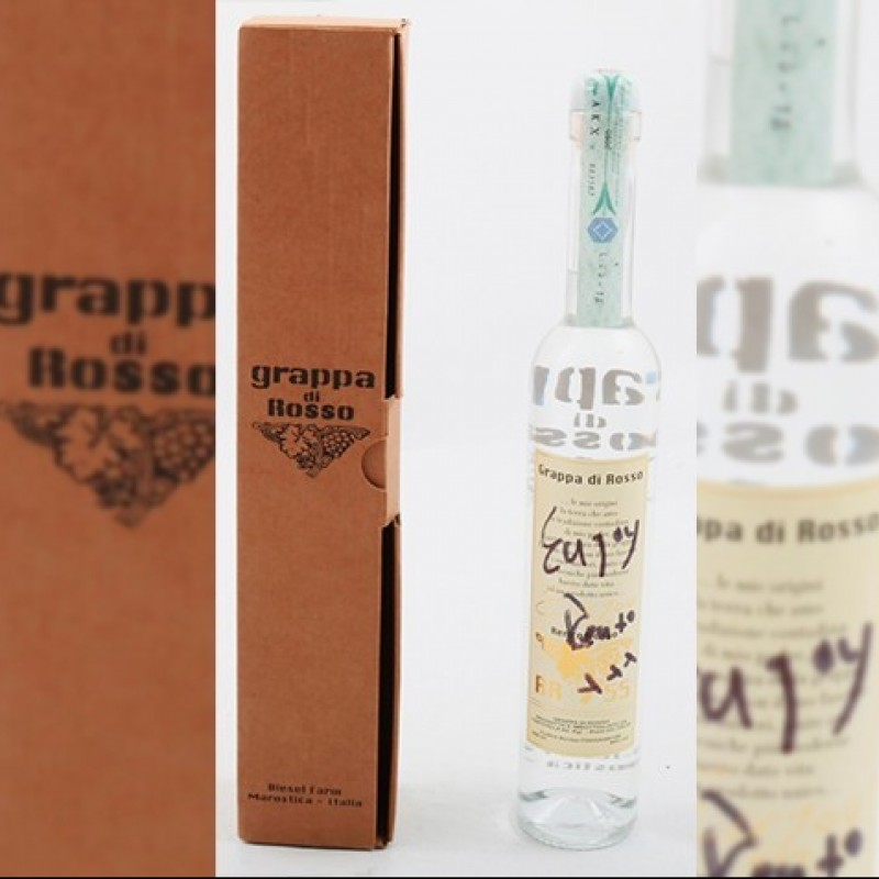 """Exclusive """"Grappa di Rosso,"""" Personalized and Signed by Renzo Rosso"""