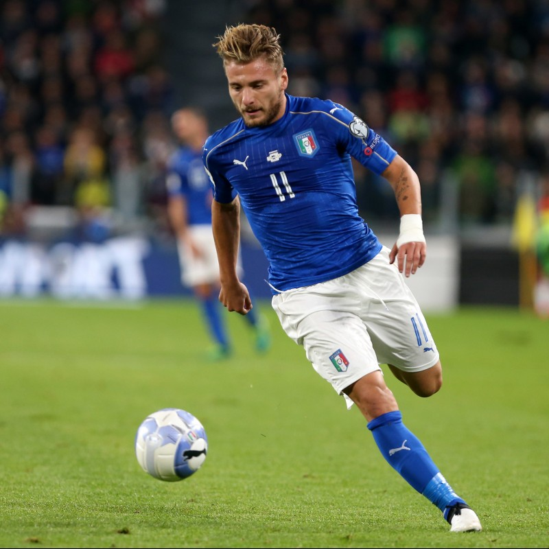 Immobile's Issued/Worn Shirt, Italy-Liechtenstein 2017