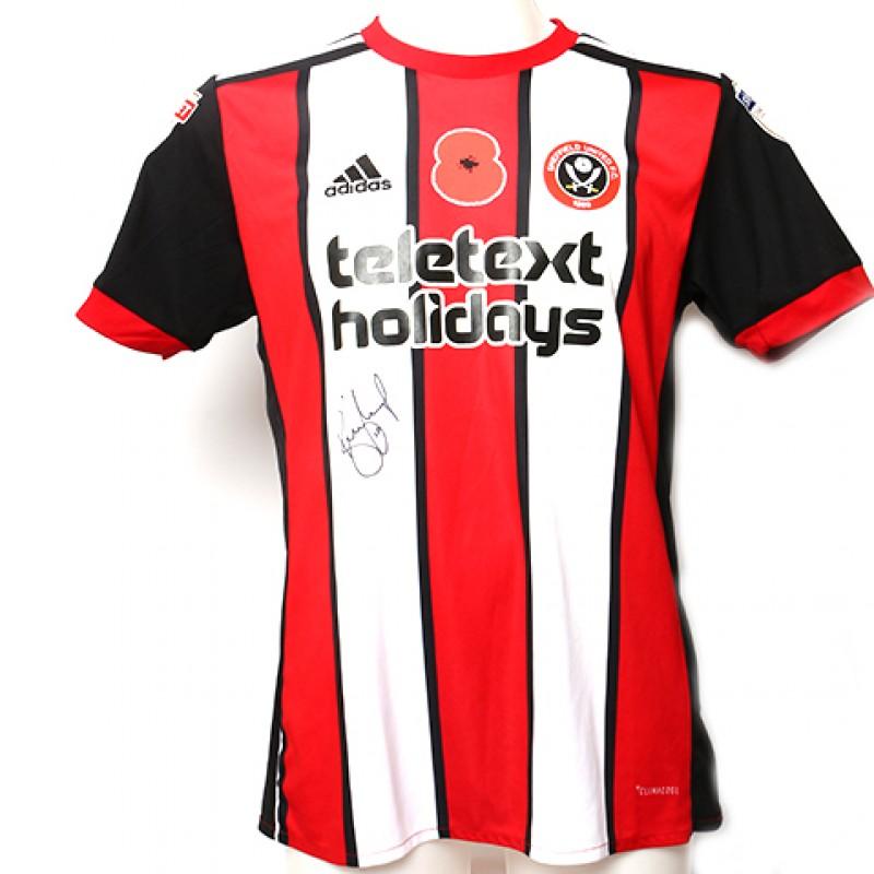 Signed match-worn Poppy shirt from Sheffield United's Billy Sharp