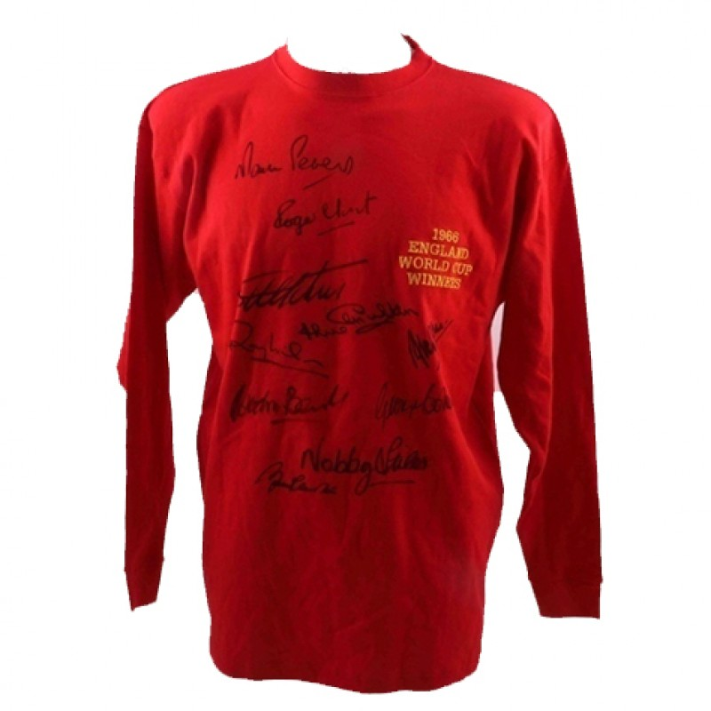 England 1966 Red Shirt Signed by 10 Champions