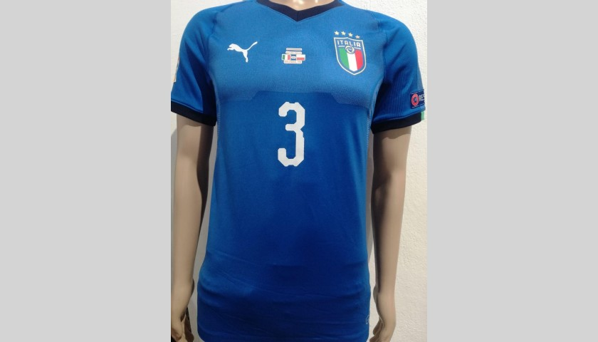 Chiellini's Italy Match-Issue Shirt - Signed with Dedication