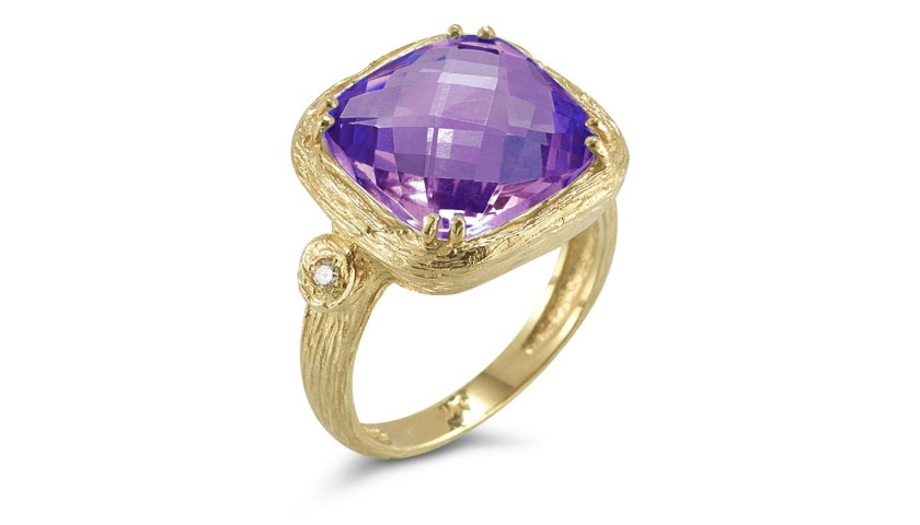 Reiss 14K Purple Amethyst & Diamond Ring