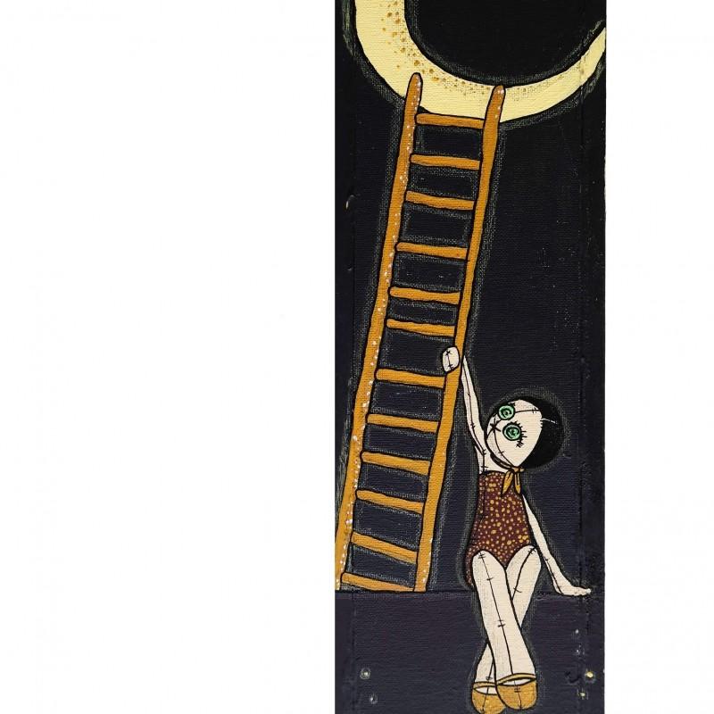 """La Lune"" - acrylic, china and pencil on wood panel by Roberta Ragona - 42x12 cm"