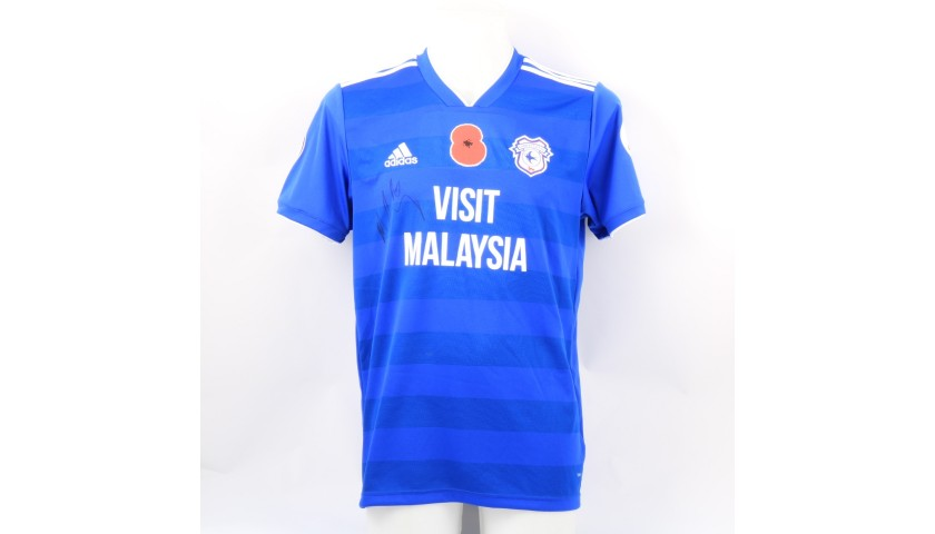 Connolly's Cardiff City Match-issued and Signed Poppy Shirt
