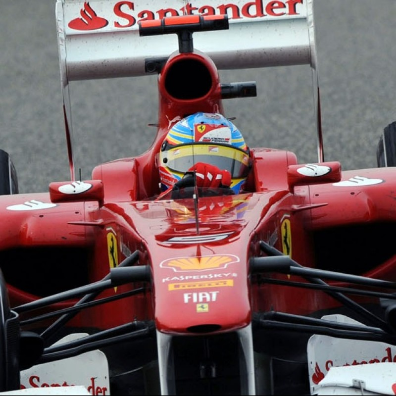 Fernando Alonso's Used and Signed Ferrari Visor