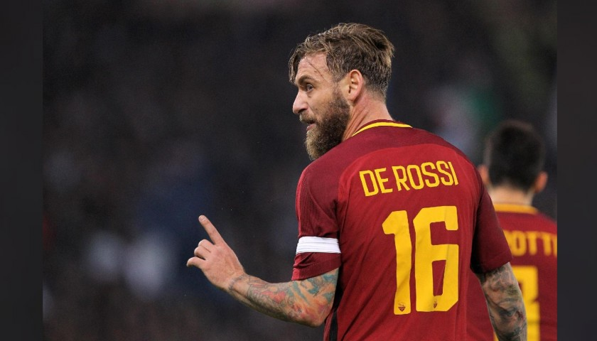 De Rossi's Official Roma Signed Shirt, 2017/18 - CharityStars