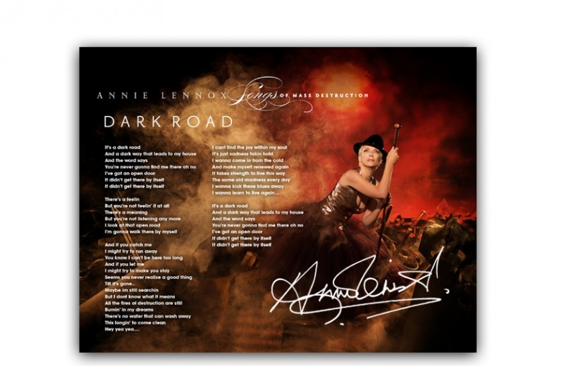 "Signed ""Dark Road"" Lyric Sheet"