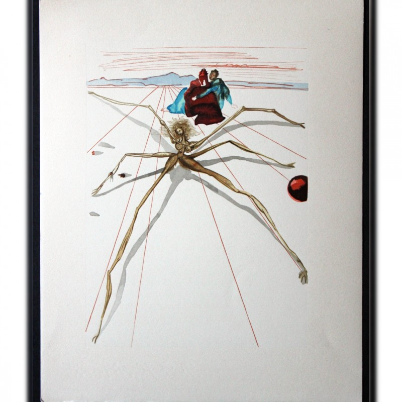 "Original Board by Salvador Dalì - ""Aracne"" Purgatorio Canto XXI"