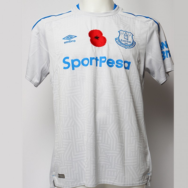 Worn Poppy Away Game Shirt Signed by Everton FC's Ashley Williams