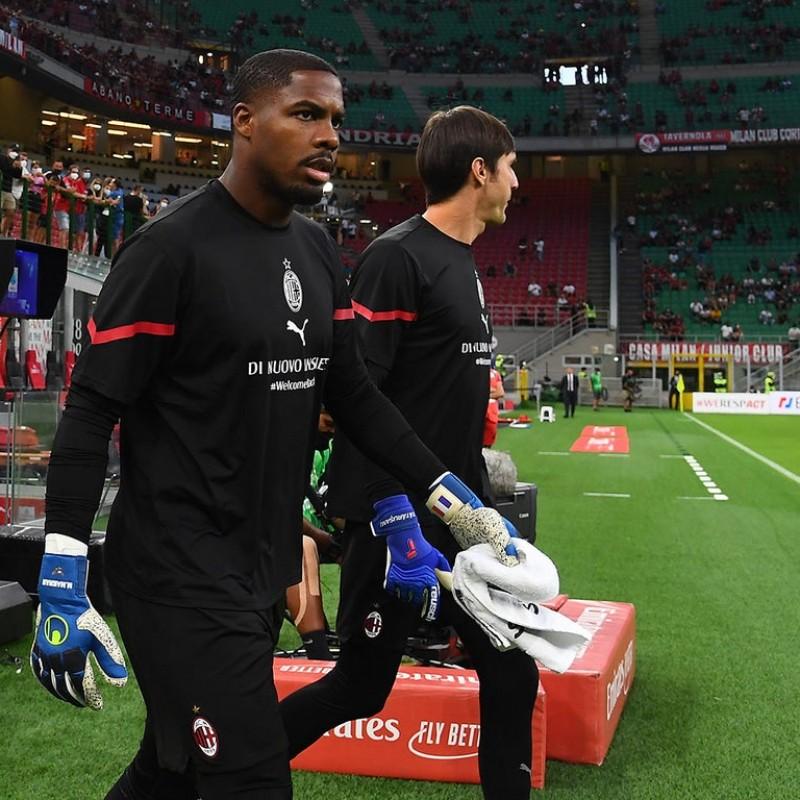 Tatarusanu's Special Worn and Signed Warm-Up Shirt, AC Milan-Cagliari