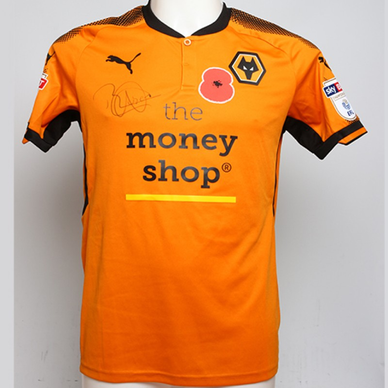Poppy Shirt Signed by Wolverhampton Wanderers FC's Rúben Neves
