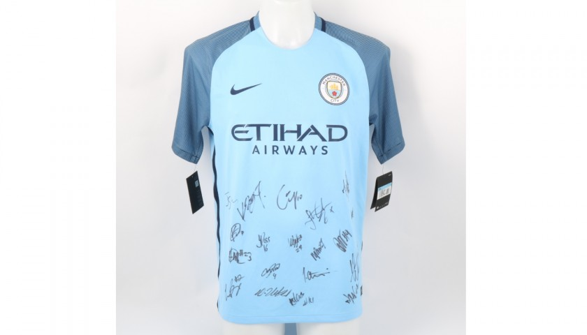 Official Manchester City Home Shirt Signed by the EDS Academy Squad